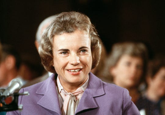 Supreme Court nominee Sandra Day O'Connor smiles during her confirmation hearing before the Senate Judiciary Committee, Sept. 9, 1981.