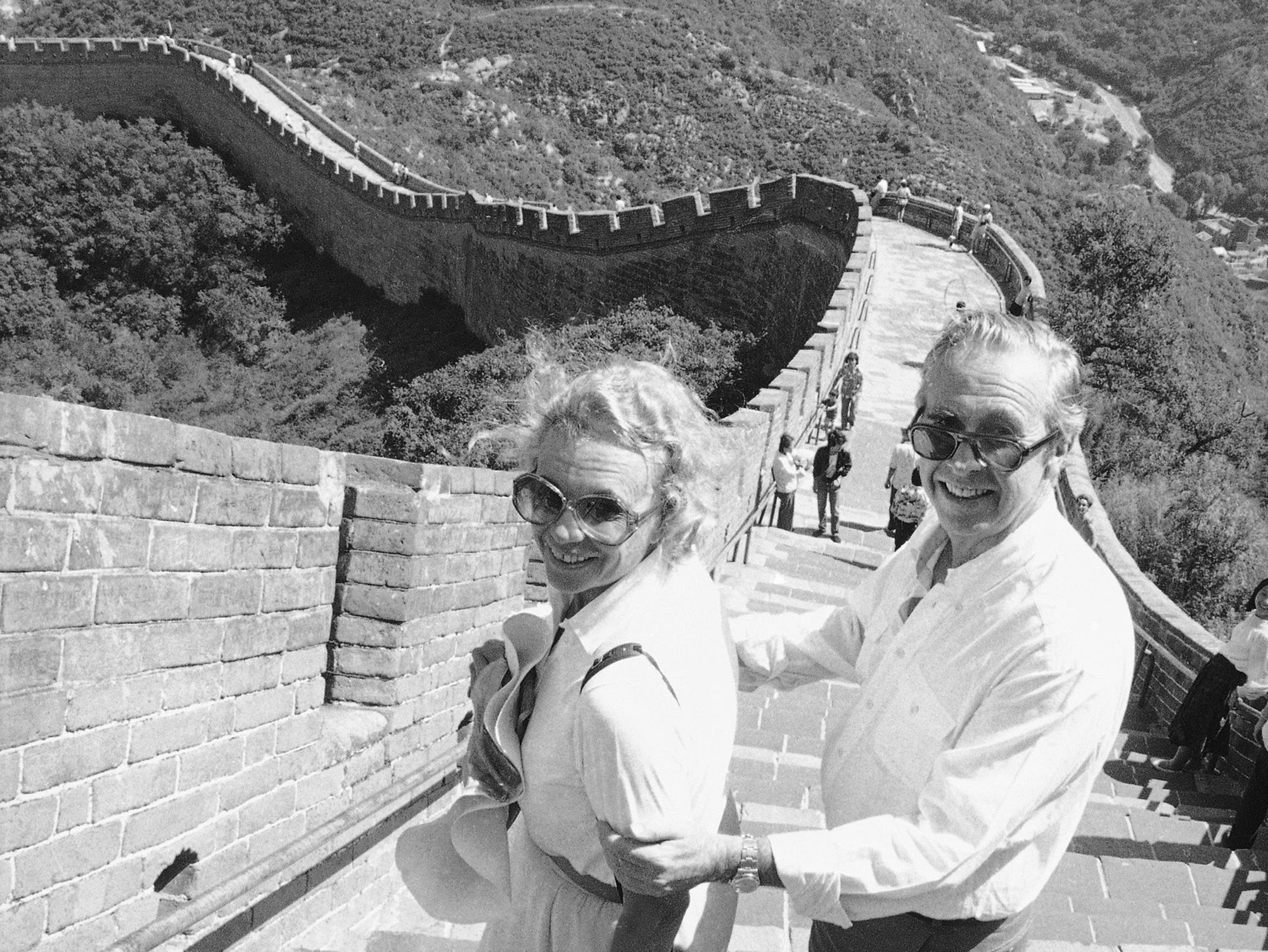 U.S. Supreme Court Justice Sandra Day O'Connor and her husband pause Friday, Aug. 28, 1987, as they navigate a steep stretch of China's famed Great Wall at Badaling, near Beijing.