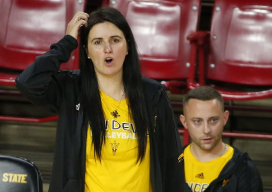 Arizona State University head volleyball coach Sanja Tomasevic watches her team during match against Northern Arizona University at Wells Fargo Arena in Tempe on September 14, 2018.