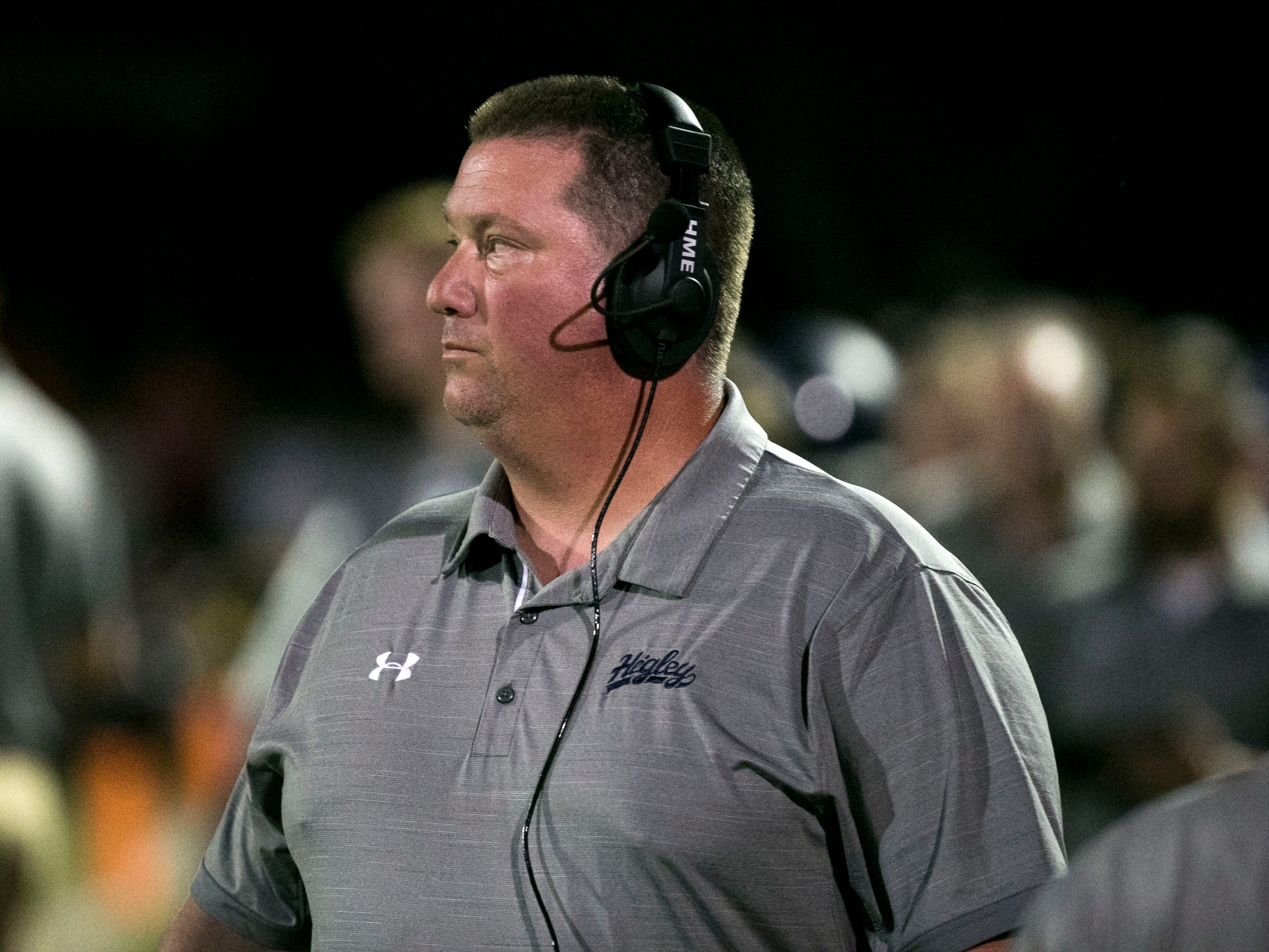 Higley High head football coach Eddy Zubey during the first quarter of the high school football game against Millennium High at Higley High in Gilbert on Friday evening, September 14, 2018.
