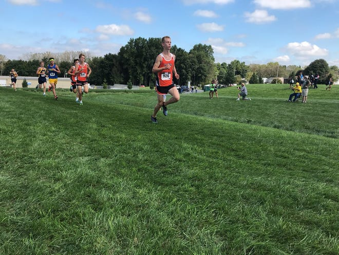 Palmyra's Jakolby Fackler led from the first quarter mile on en route to his first Lebanon Cross Country title on Saturday.