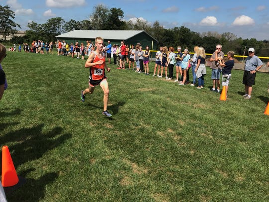 Palmyra's Jakolby Fackler placed 5th at the Mid-Penn Conference meet on Saturday.