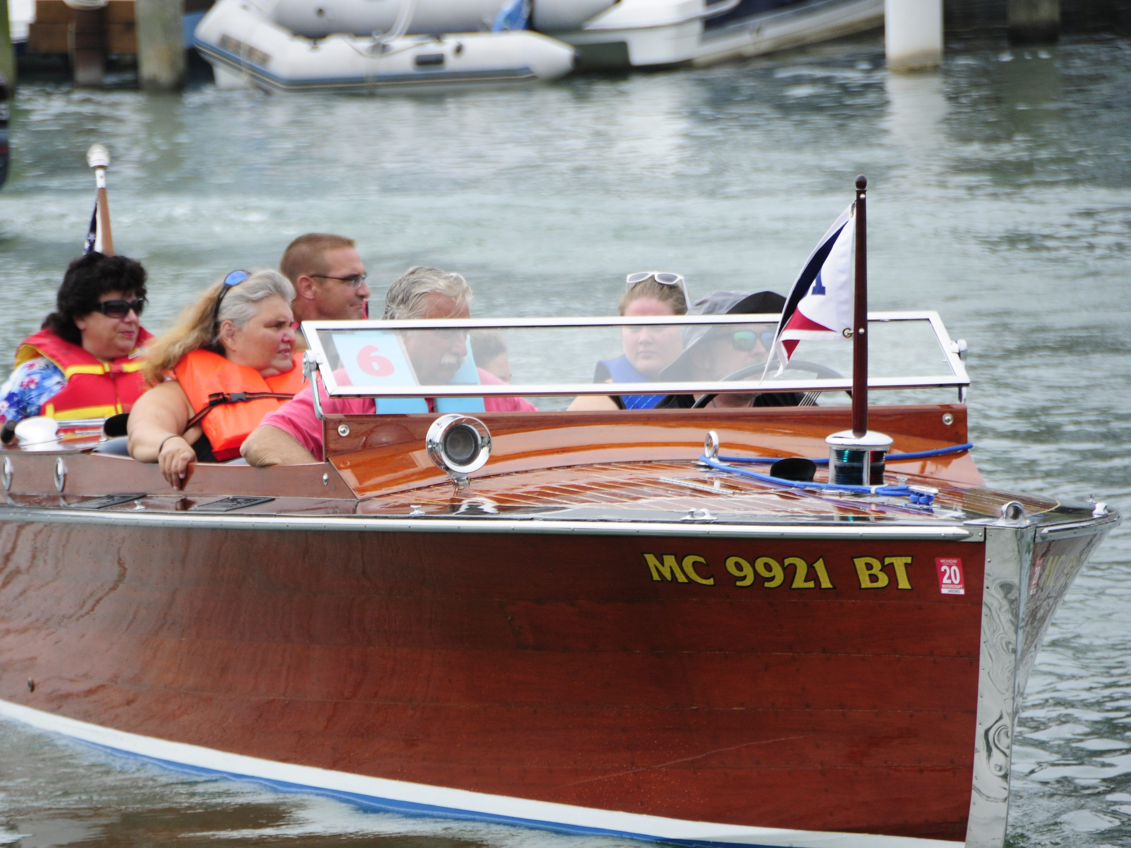 The Wave Trotter heads out with riders during the Antique and Classic Boat Society International Boat Show on Saturday, Sept. 15, 2018.