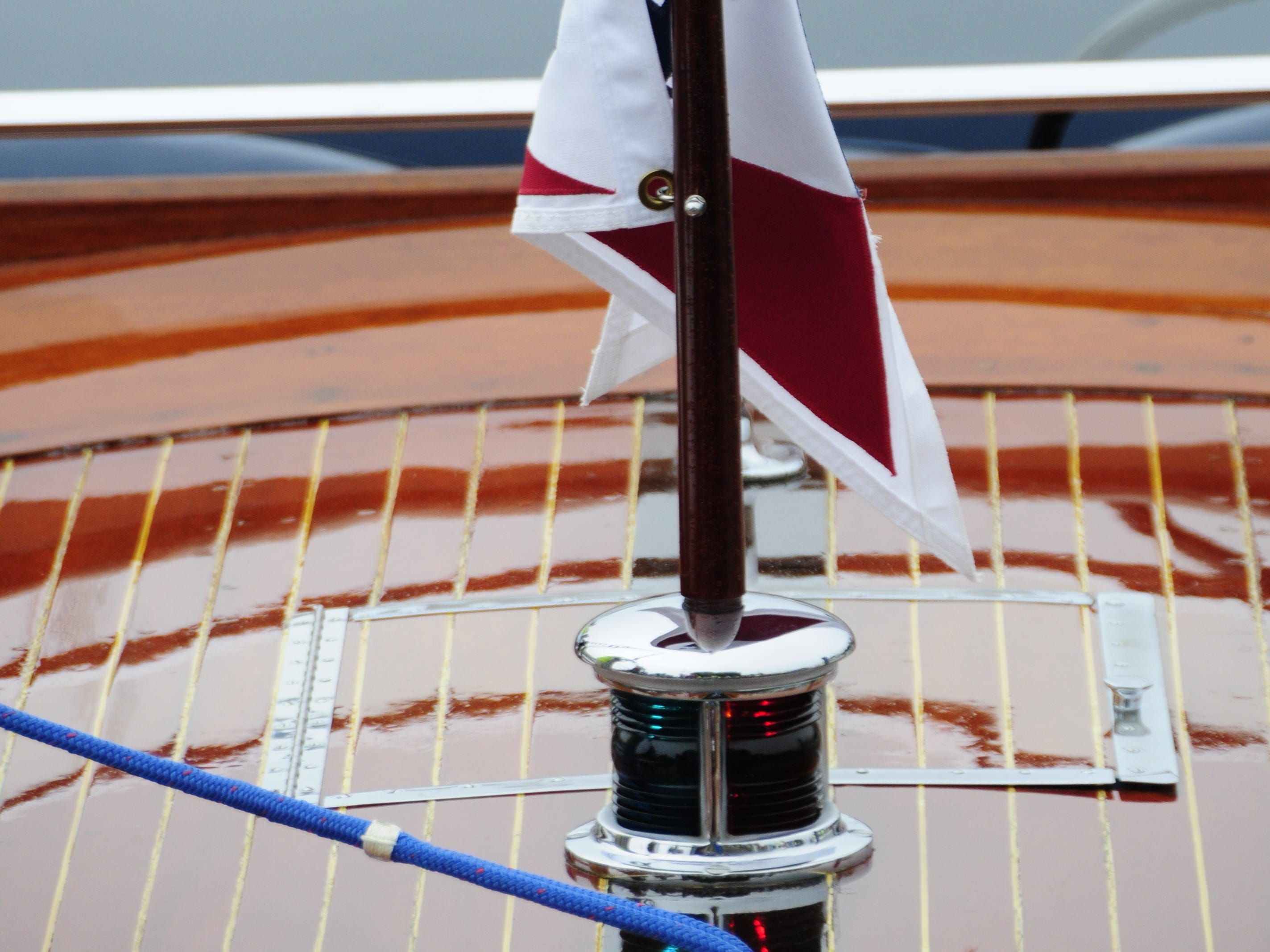 A pennant flies from the bow of a boat during the Antique and Classic Boat Society International Boat Show on Saturday, Sept. 15, 2018.