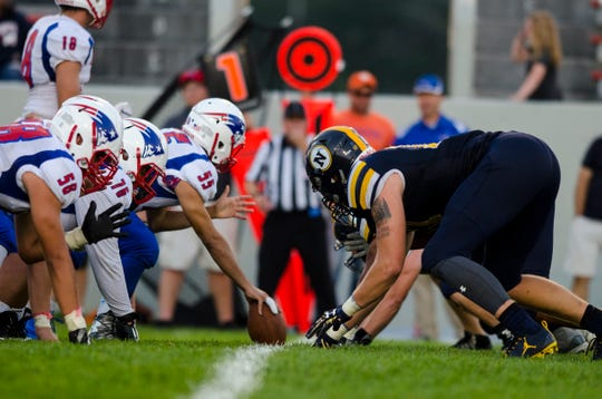 Port Huron Northern High School defensive back Braiden McGregor lines up at the line of scrimmage during their game against Warren Cousino High School Friday, Sept. 14, 2018 at Memorial Stadium.