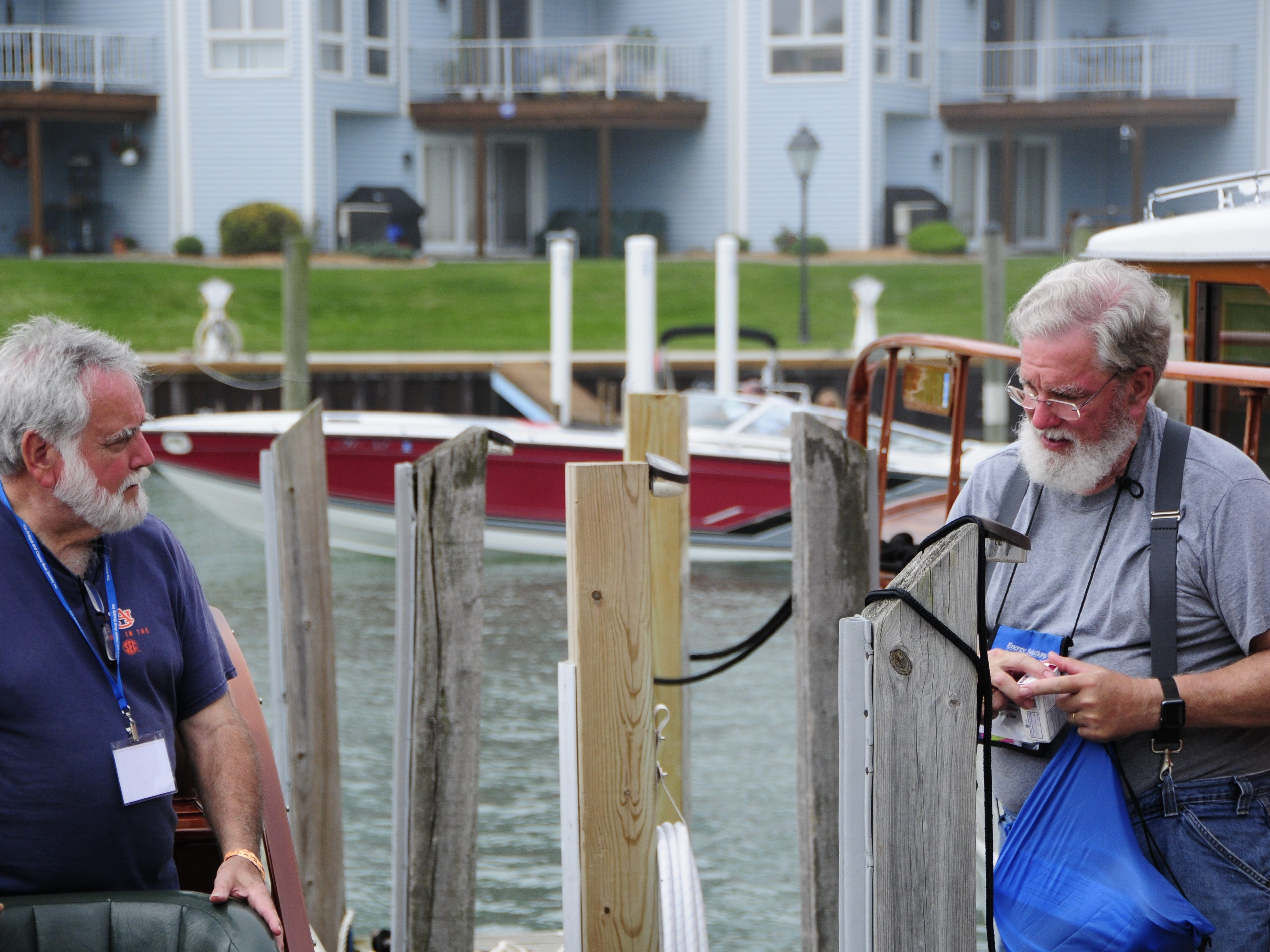 Ray Gaines and Drew Lindsey, of Atlanta, Georgia, were aboard the Rumrunner during the Antique and Classic Boat Society International Boat Show on Saturday, Sept. 15, 2018.