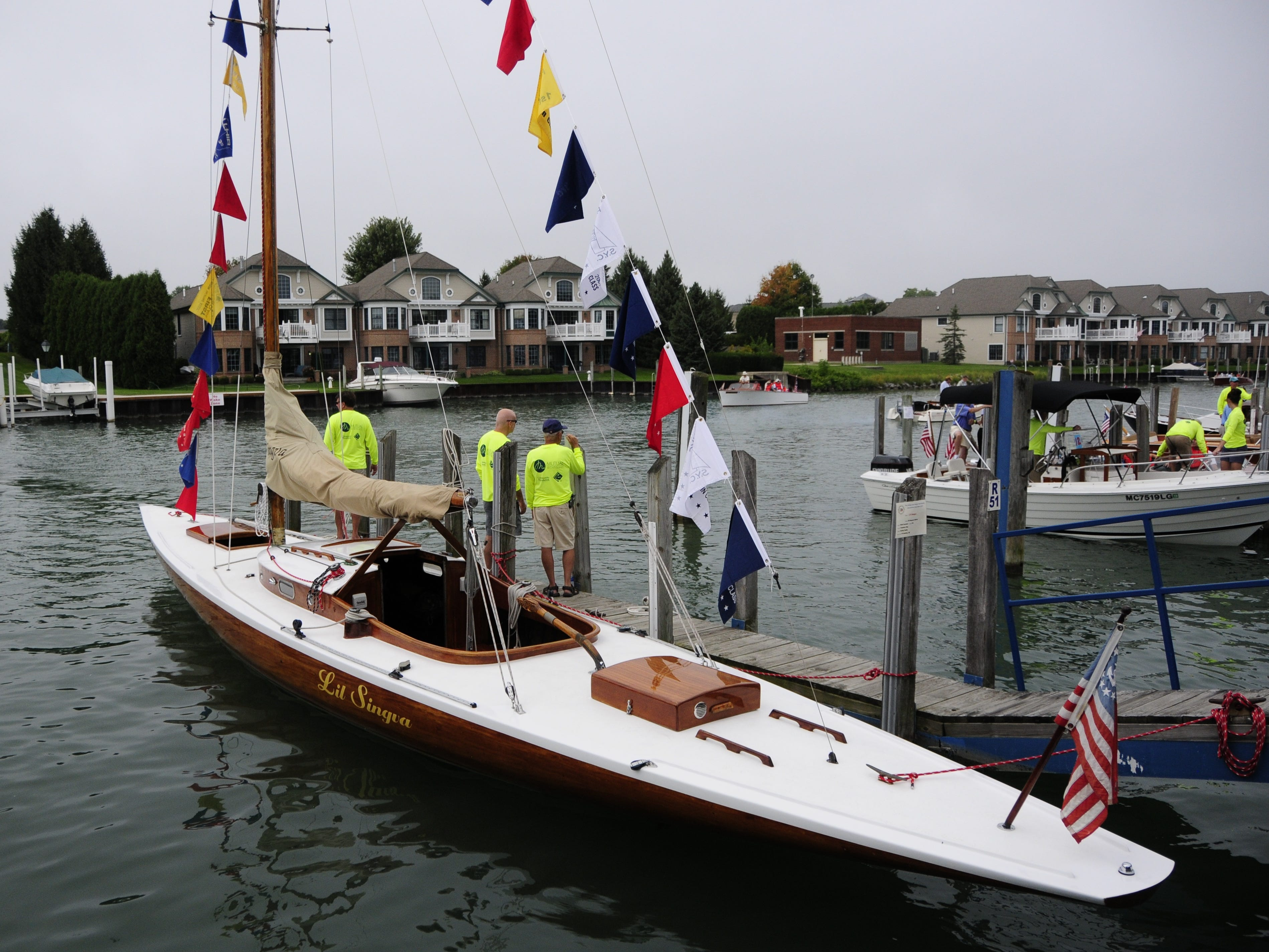 Kathy Duffy's L'il Singva was one of the few sailboats at the Antique and Classic Boat Society International Boat Show on Saturday, Sept. 15, 2018.
