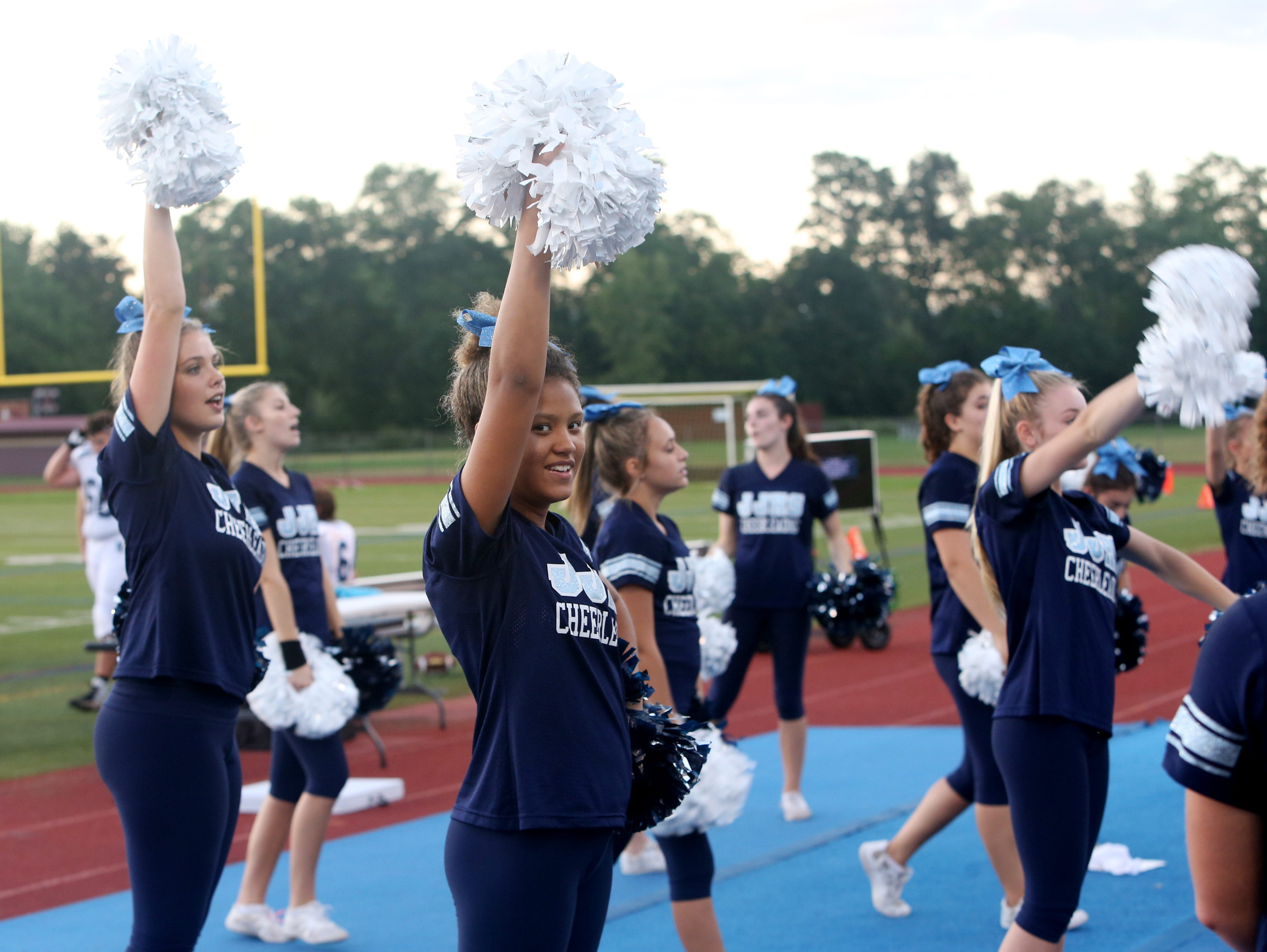 John Jay's cheerleaders perform during Friday's game between Arlington and John Jay in Freedom Plains on Sept 14, 2018.
