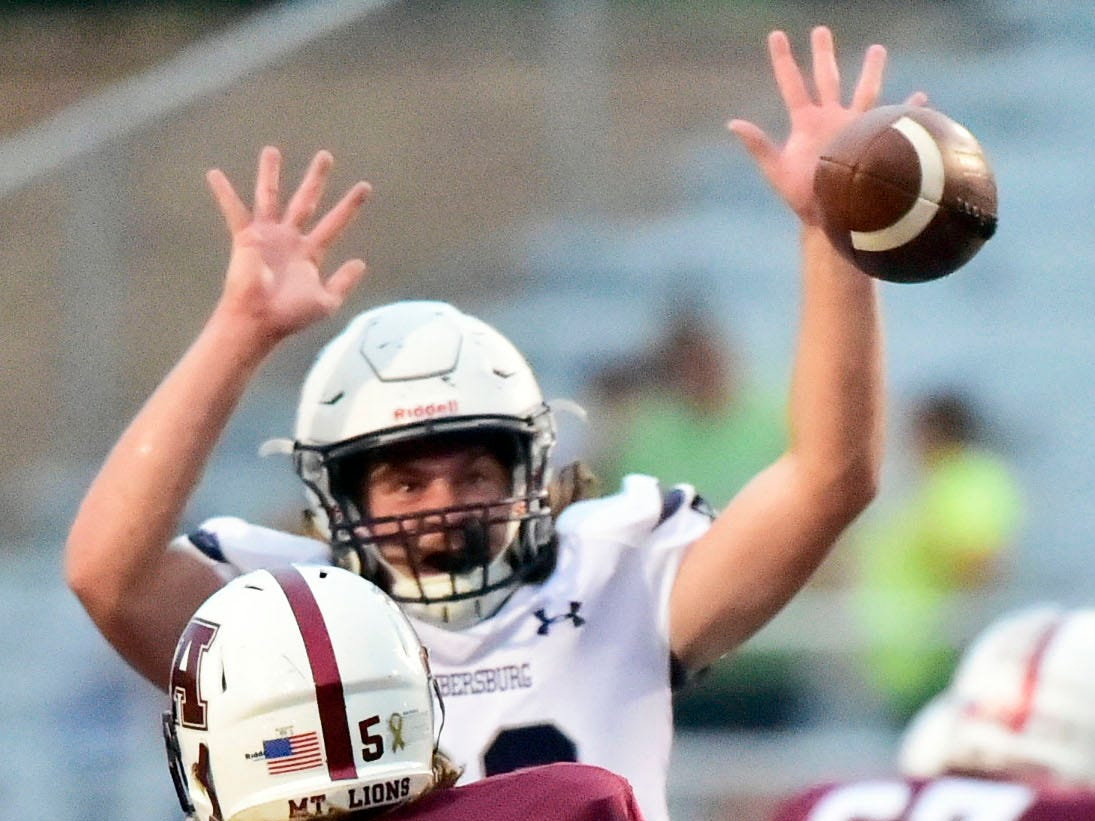 Garner Funk of Chambersburg knocks down a pass by Conner McCarthy of Altoona. Chambersburg defeated Altoona 48-28 in PIAA football to move to 4-0 on Friday, Sept. 14, 2018.