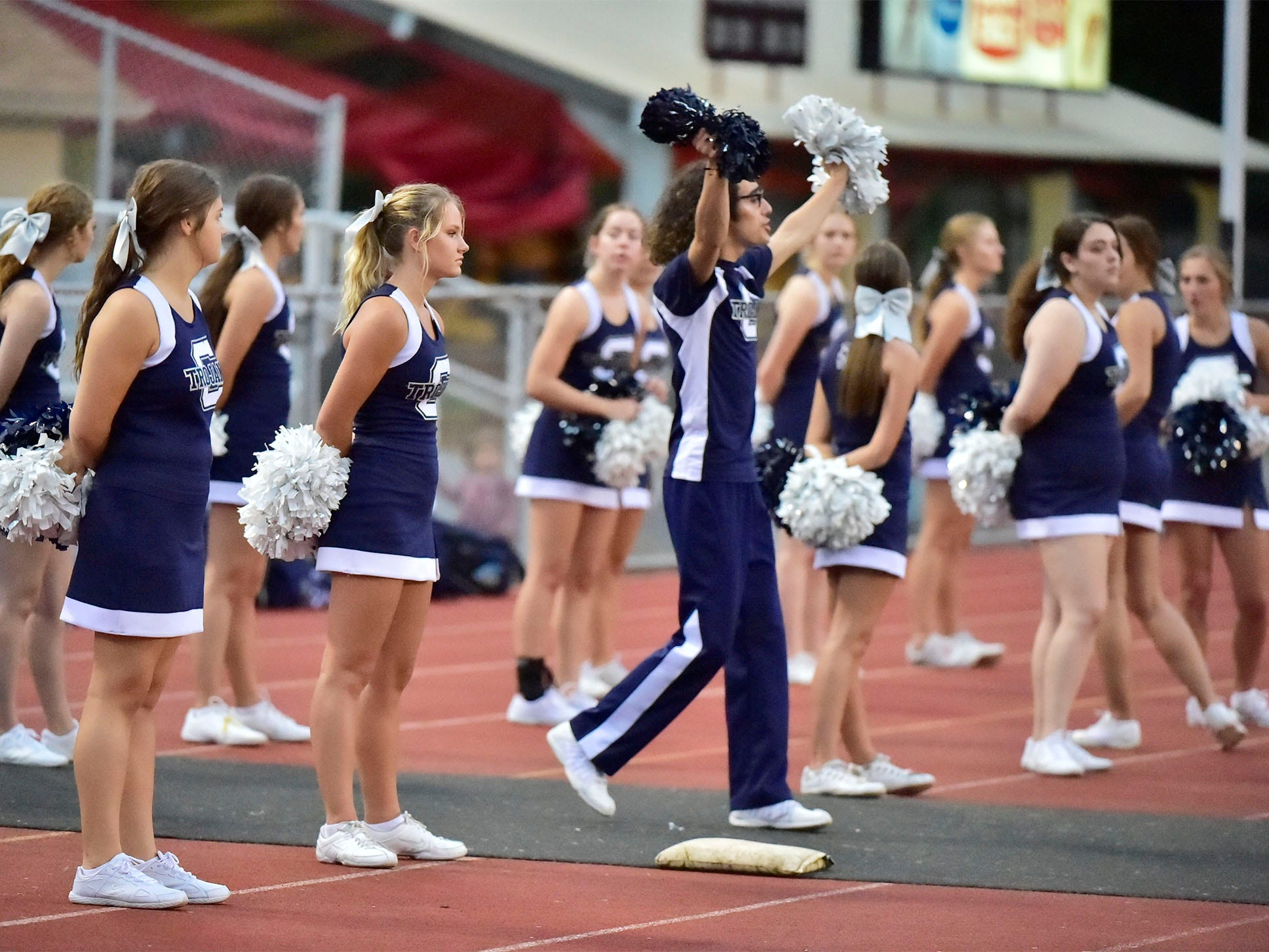 Trojan cheerleaders do a set. Chambersburg defeated Altoona 48-28 in PIAA football to move to 4-0 on Friday, Sept. 14, 2018.