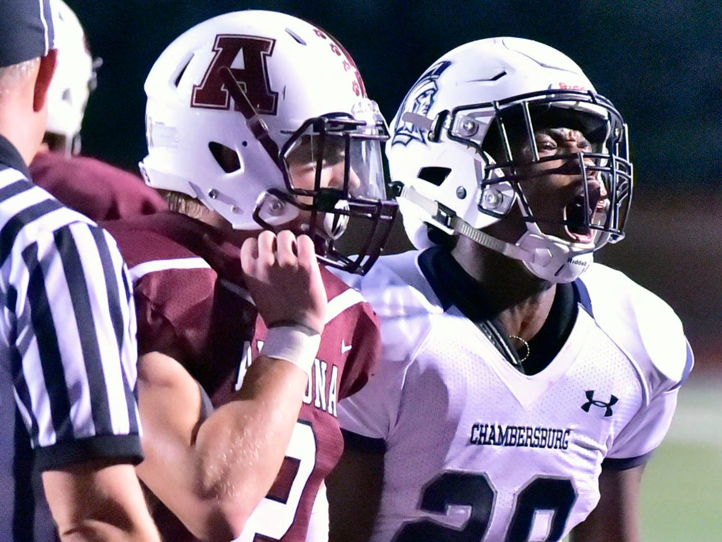Keyshawn Jones celebrates a trip to the endzone. Chambersburg defeated Altoona 48-28 in PIAA football to move to 4-0 on Friday, Sept. 14, 2018.