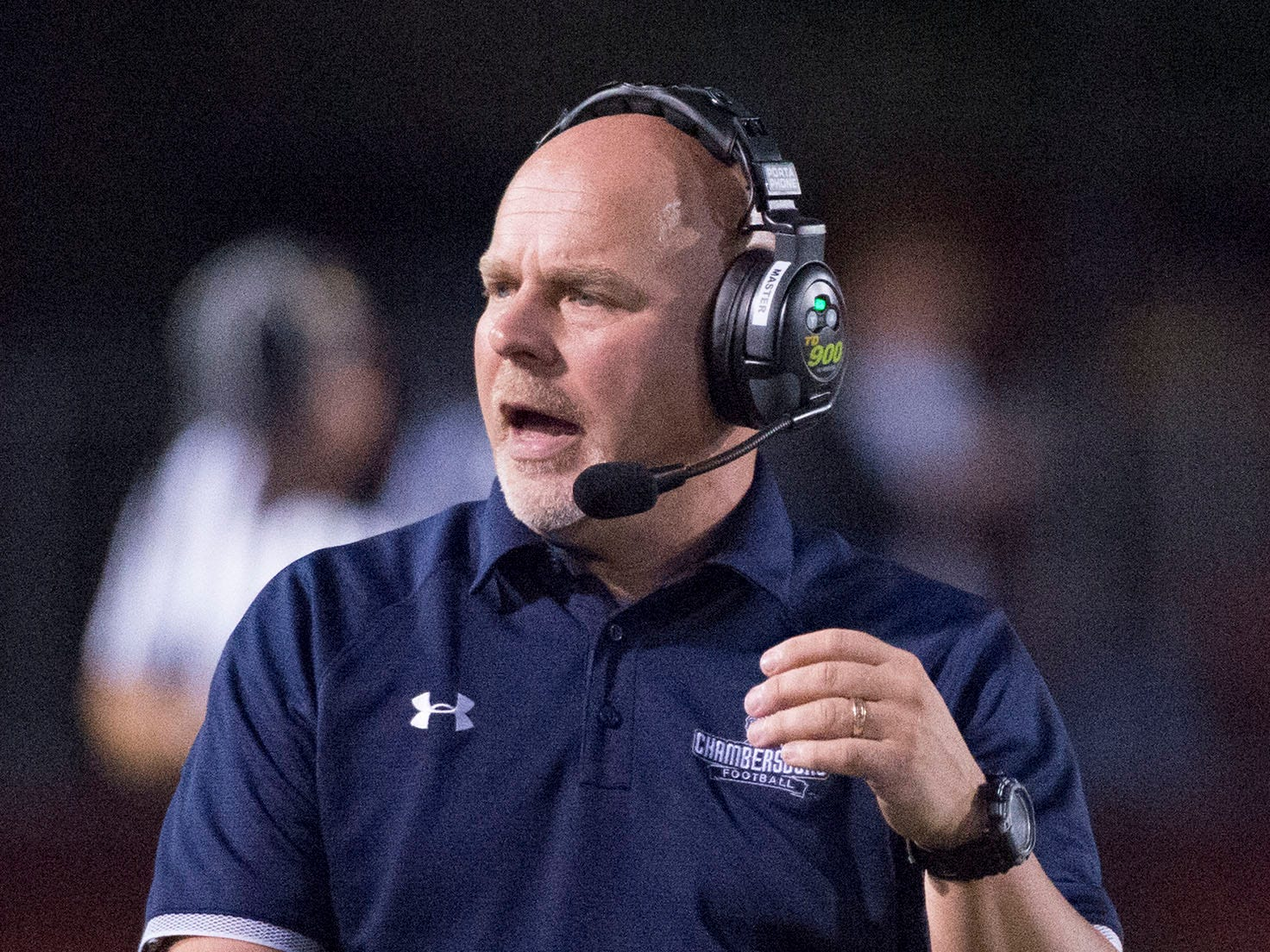 Chambersburg head coach Mark Luther leads the Trojans. Chambersburg defeated Altoona 48-28 in PIAA football to move to 4-0 on Friday, Sept. 14, 2018.