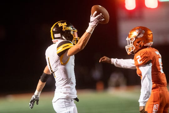 Red Lion's Randy Fizer Jr. (1) celebrates a catch for a first down during a game at Central York on Friday, September 14, 2018. The Red Lion Lions beat the Central York Panthers, 56-28.