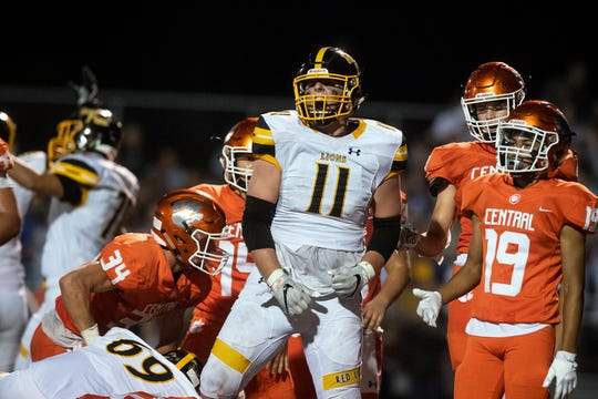 Red Lion's Elijah Workinger (11) celebrates a Lions' touchdown during a game at Central York on Friday, September 14, 2018. The Red Lion Lions beat the Central York Panthers, 42-21.
