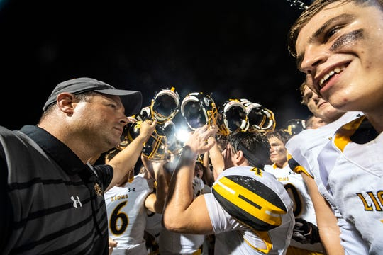 The Red Lion Lions celebrate their win over Central York on Friday, September 14, 2018. The Red Lion Lions beat the Central York Panthers, 56-28.