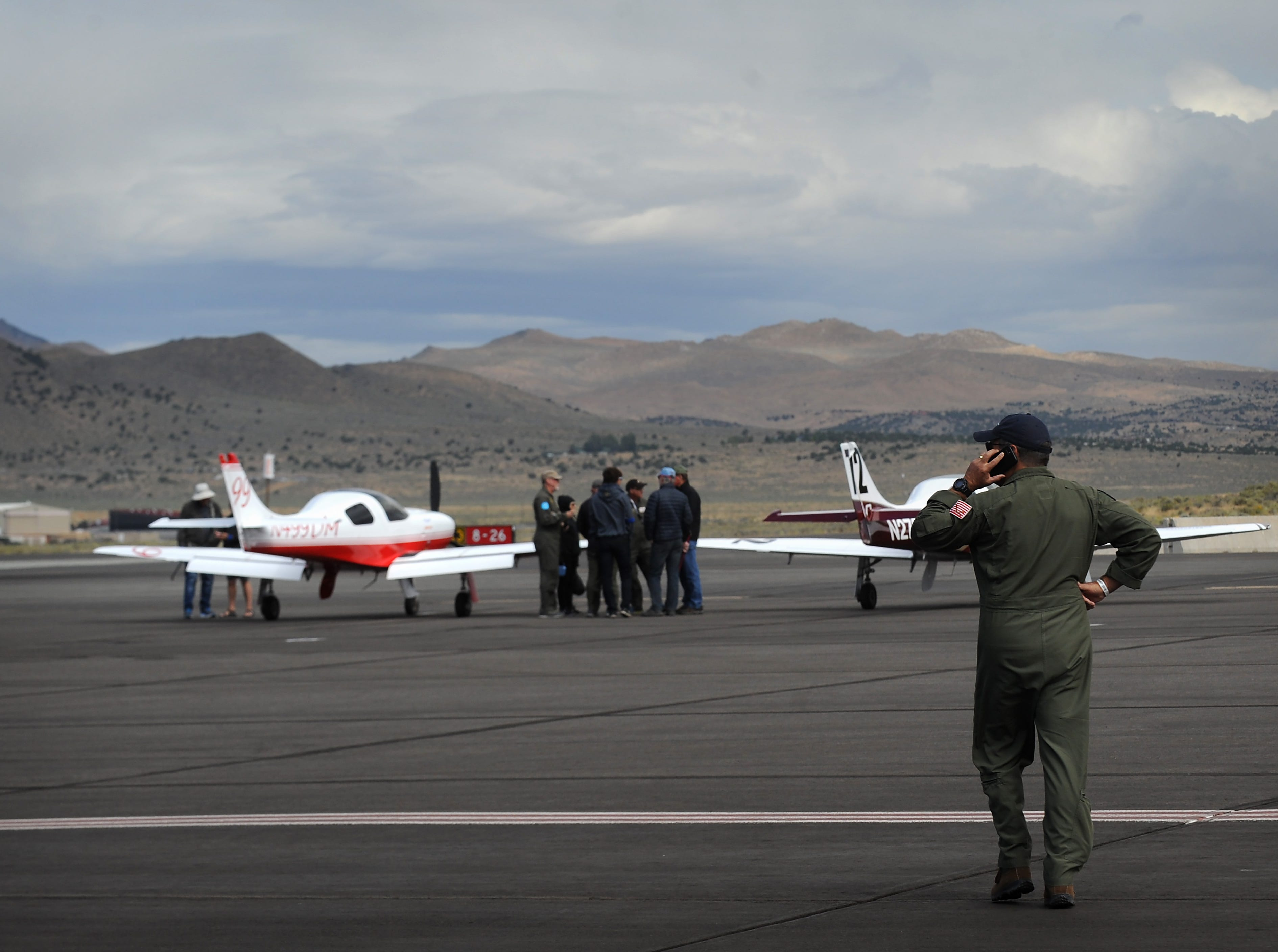The racing is put on hold due to strong cross winds at the STIHL National Championship Air Races at Stead Airport north of Reno on Sept. 15, 2018.