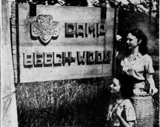 July 10, 1946: Barbara Thomson and Anna Spaulding, both 15, at the entrance of Camp Beechwood near Sodus Point.