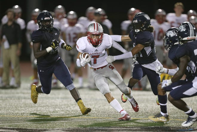 Canandaigua's Mitchell Pfeiffer looks for extra yards.