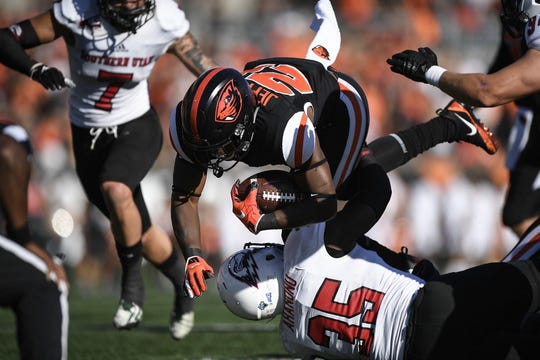 Oregon State's Jermar Jefferson rushed for 238 yards and four TDs against Southern Utah.