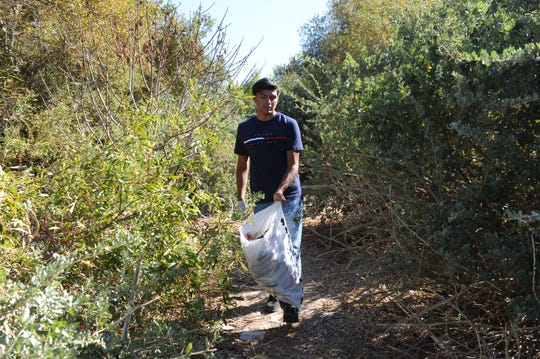 Alisal High School student Ricardo Sumano walks through a path at Upper Carr Lake in Salinas at Saturday's clean-up.