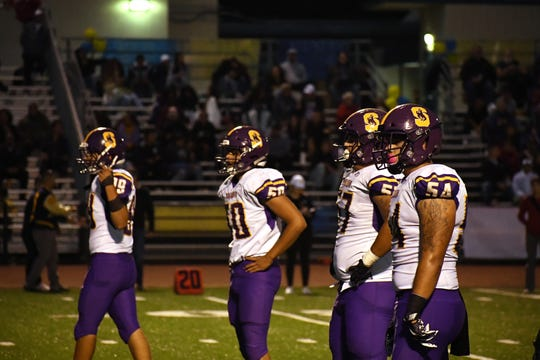 The Salinas defense, led in the trenches by seniors Zachary Datan (50), Sebastian Gomez (57), and Joshua Gomez (54) haven't given up a touchdown in the last three games.