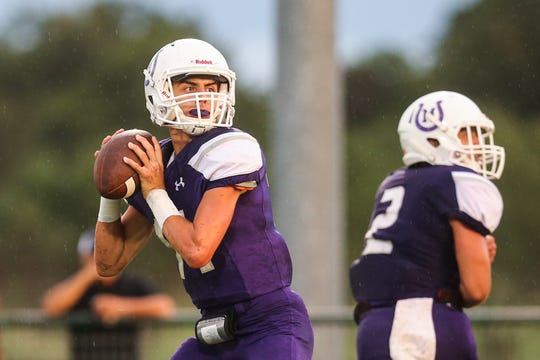 Mason's Otto Wofford looks to pass during the game against Sonora Friday Sept. 14, 2018, at Mason.