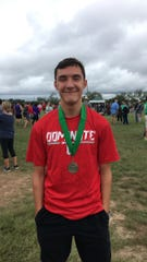 Miles High School's Joe Meza won the boys individual title Saturday, Sept. 15, 2018, at the Wall cross country meet