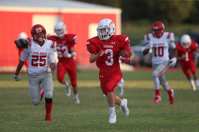 Christoval's Clayton Edmiston (#3) outruns Van Horn's defense during the Friday, Sept. 14, 2018, game in Christoval. Christoval won 30 to 28.