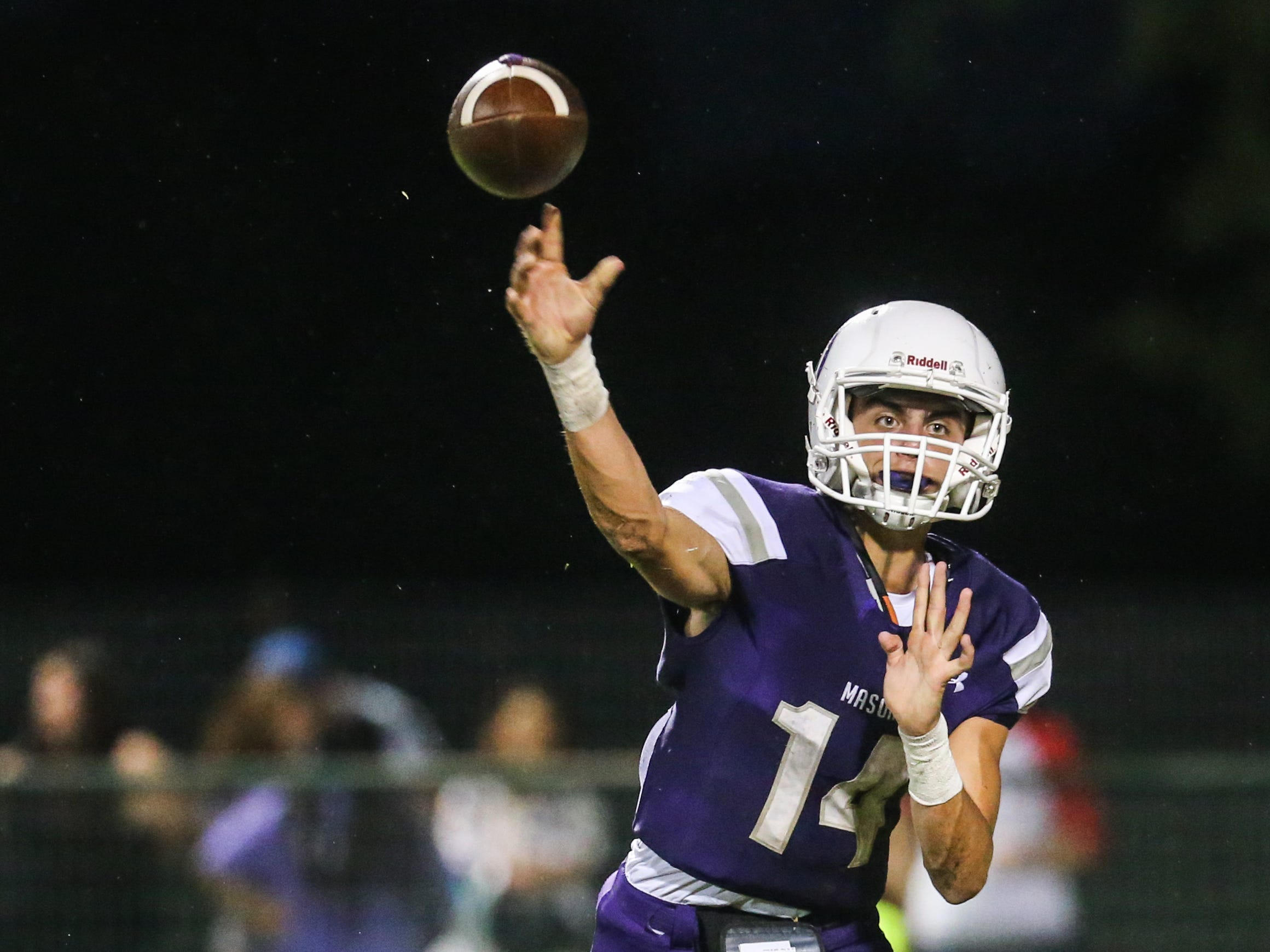 Mason's Otto Wofford throws a pass during the game against Sonora Friday Sept. 14, 2018, at Mason.