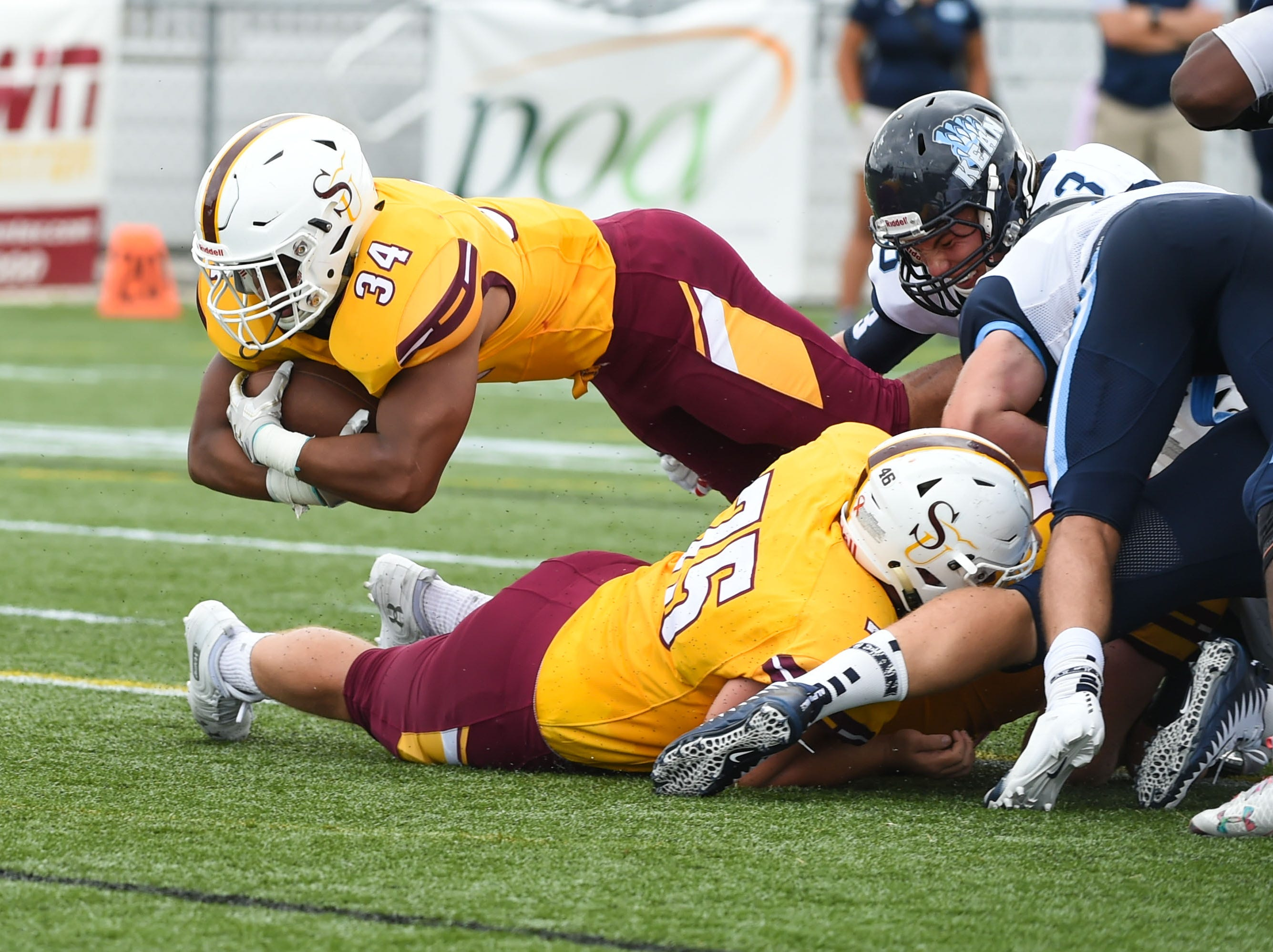 Salisbury's Kadarrius Campbell dives across the goal line for a touchdown  against Kean on Saturday, Sept. 15, 2018 at Seagull Stadium.