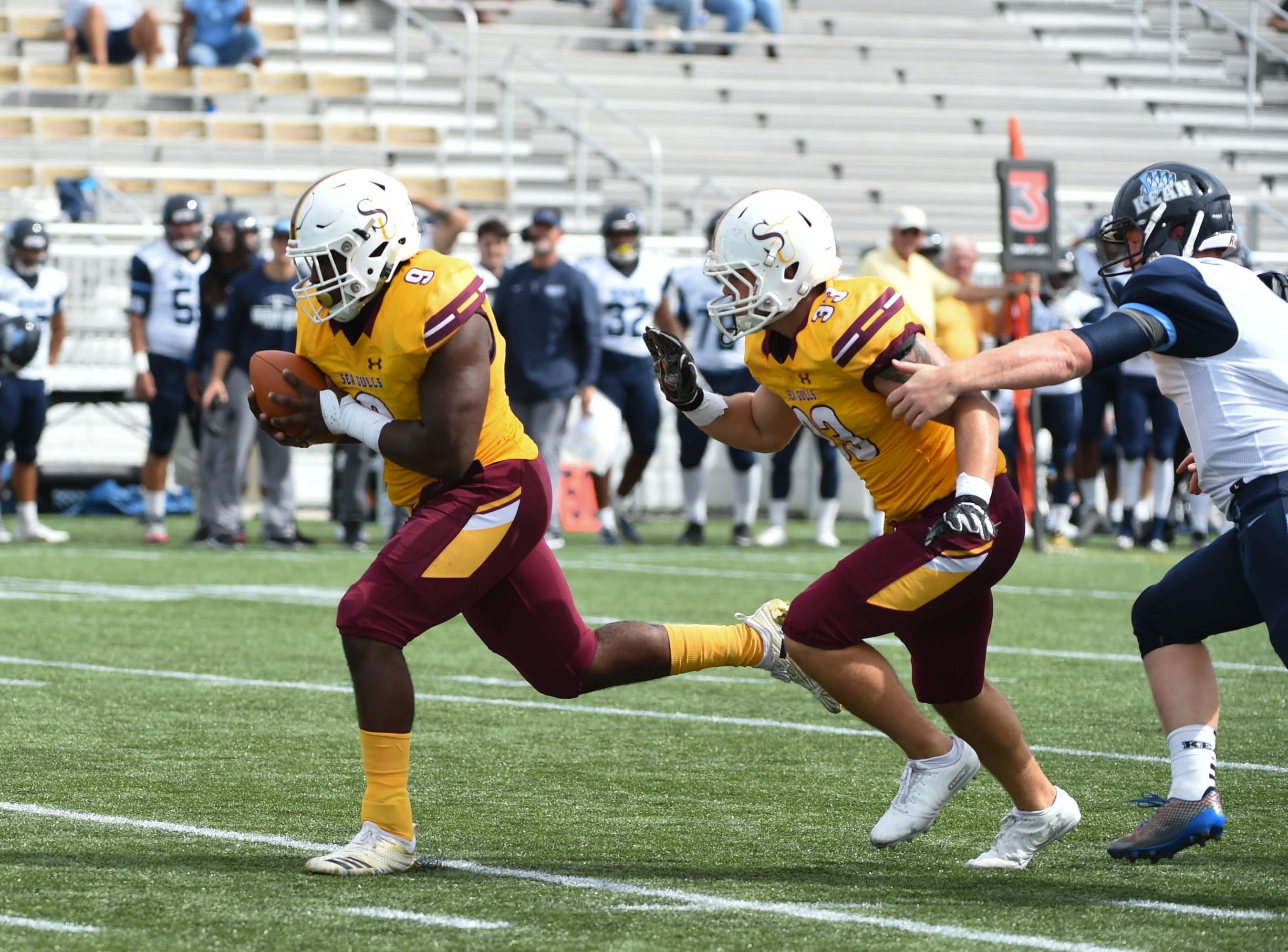 Salisbury's QB Matthew McFarland with the fumble recovery against Kean on Saturday, Sept. 15, 2018 at Seagull Stadium.