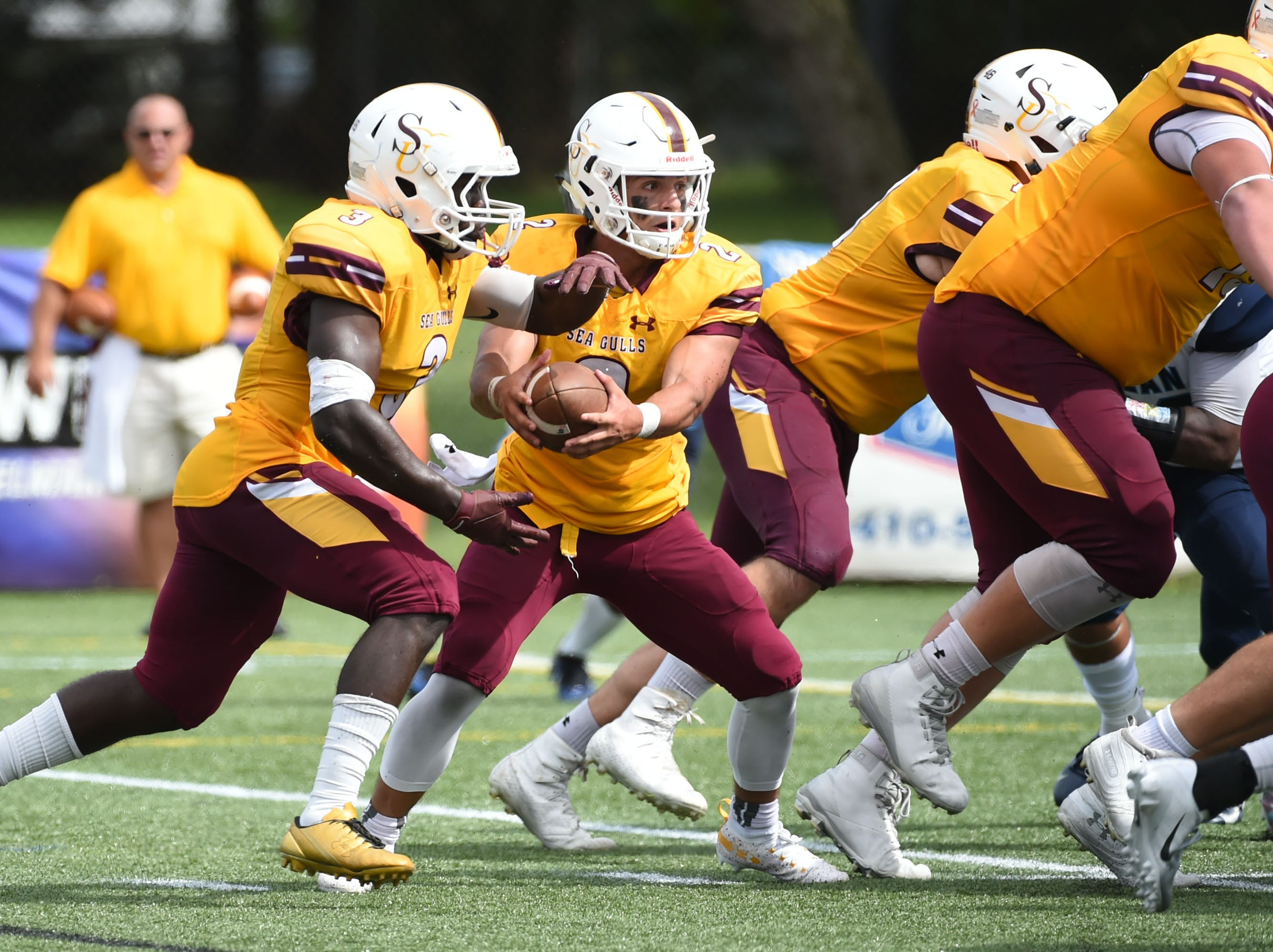 Salisbury's Mike-Ryan Mofor gets the carry against Kean on Saturday, Sept. 15, 2018 at Seagull Stadium.