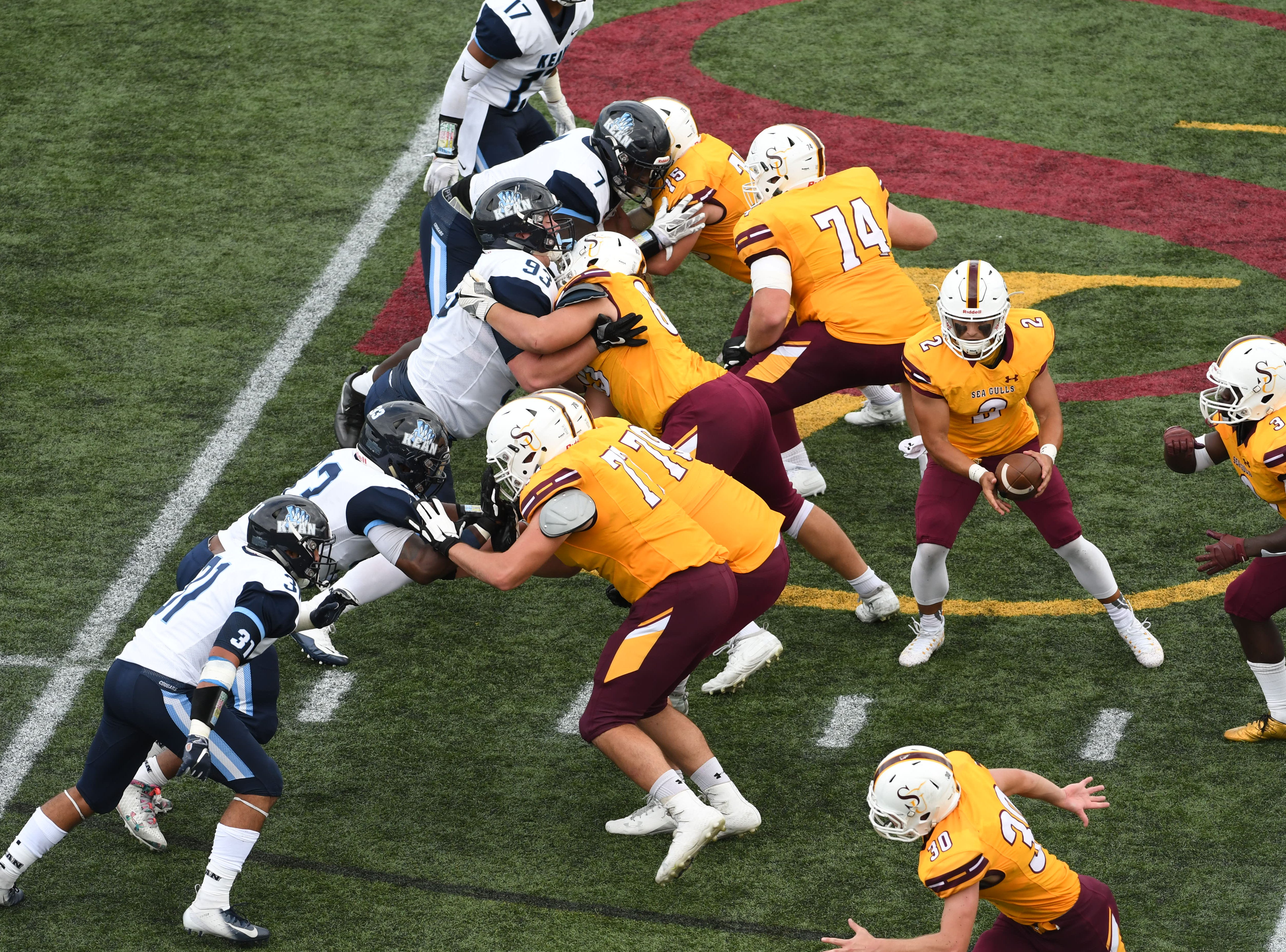 Salisbury's Jack Navitsky with the hand off during the game against Kean on Saturday, Sept. 15,2018 at Seagull Stadium