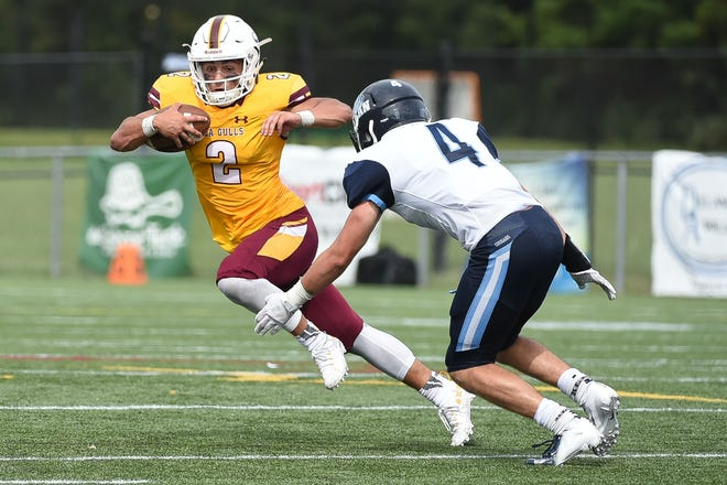 Salisbury's QB Jack Navitsky keeps the ball against Kean on Saturday, Sept. 15, 2018 at Seagull Stadium.