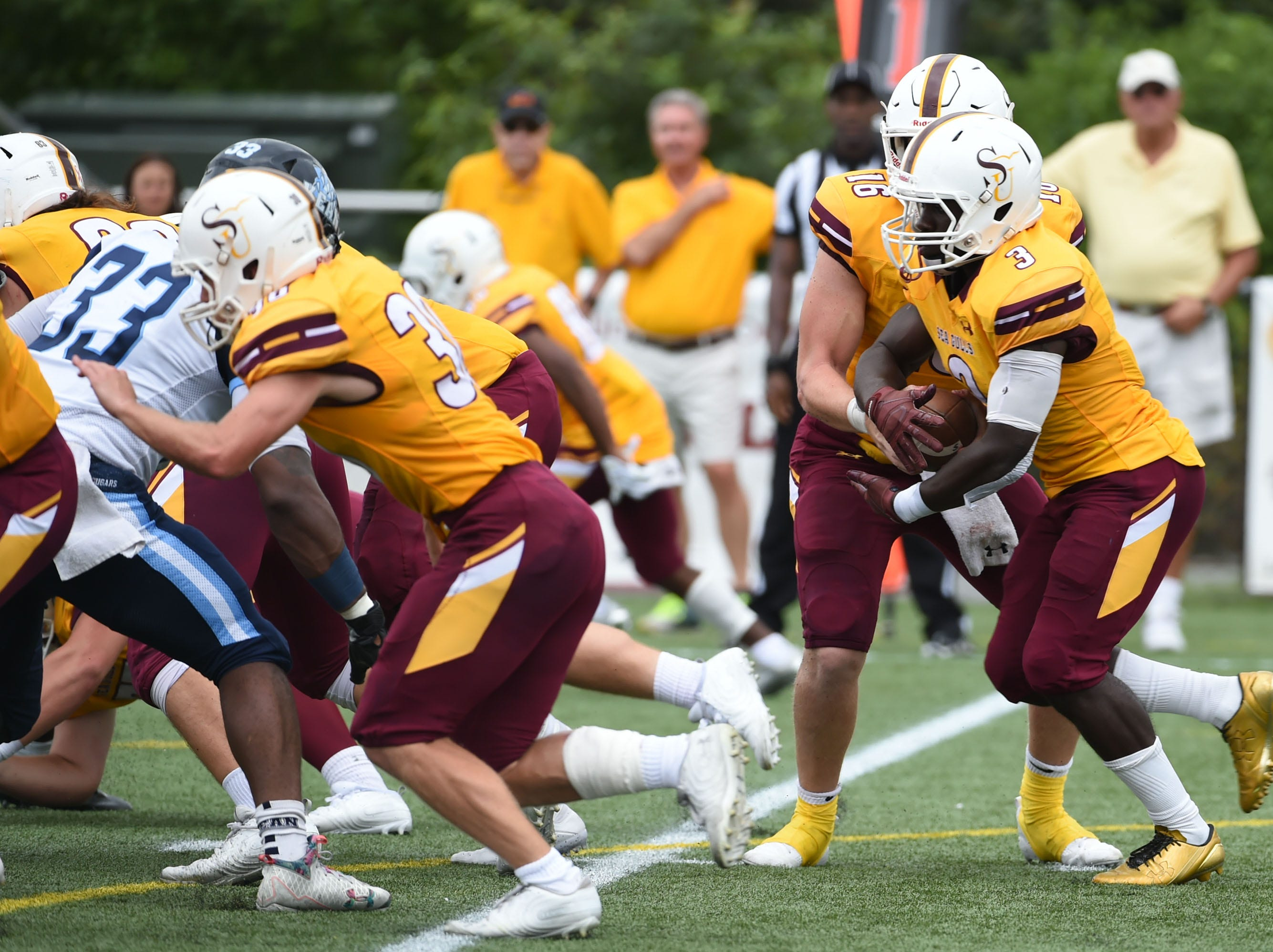 Salisbury's Mike-Ryan Mofor with the carry against Kean on Saturday, Sept. 15, 2018 at Seagull Stadium.