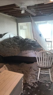 The ceiling of this bedroom at a home in Dewey Beach collapsed early Sept. 15, sending insulation and drywall on top a sleeping couple.