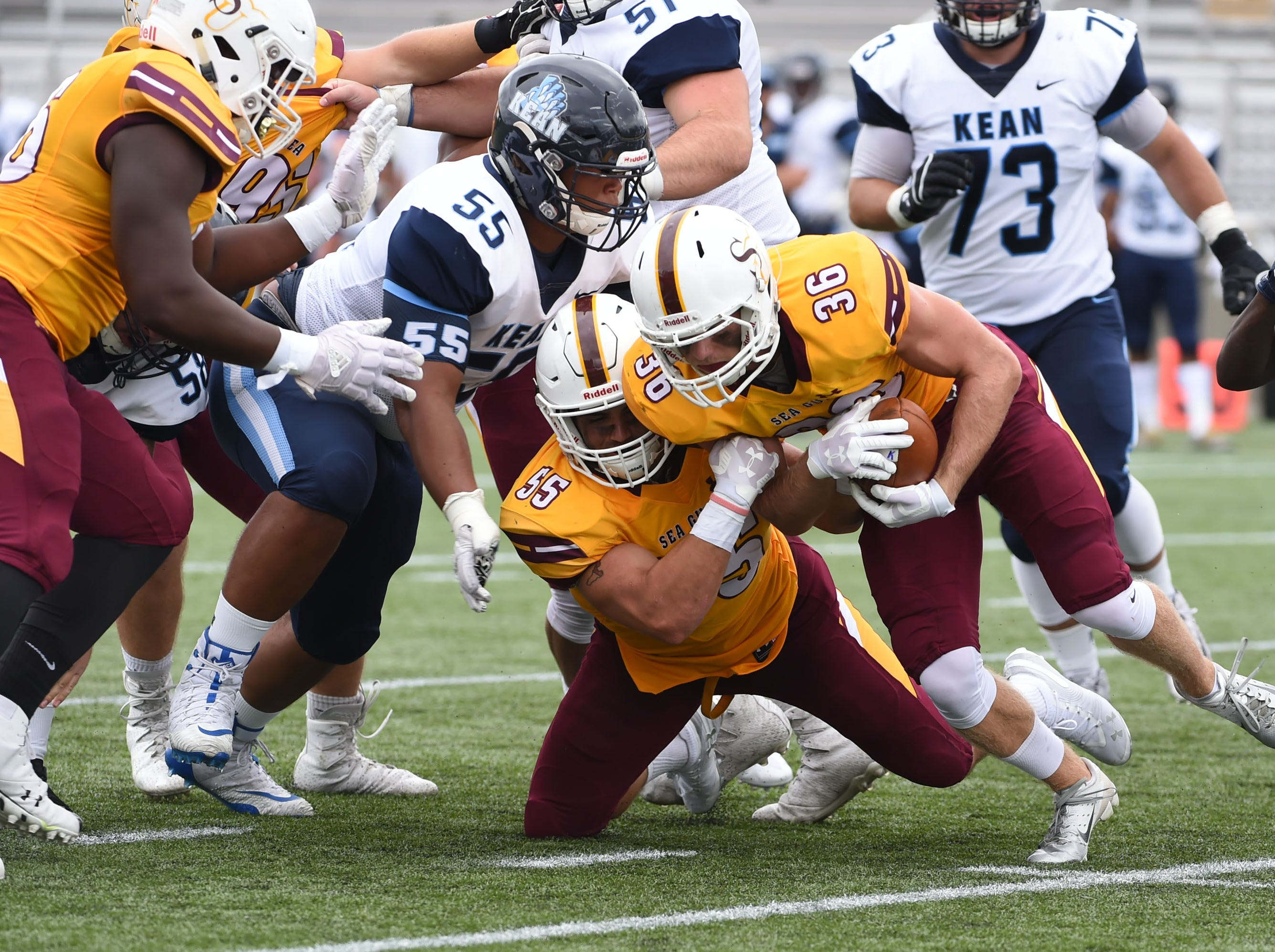 Salisbury's Sean Carrol (36) with a fumble recovery against Kean on Saturday, Sept. 15, 2018 at Seagull Stadium.