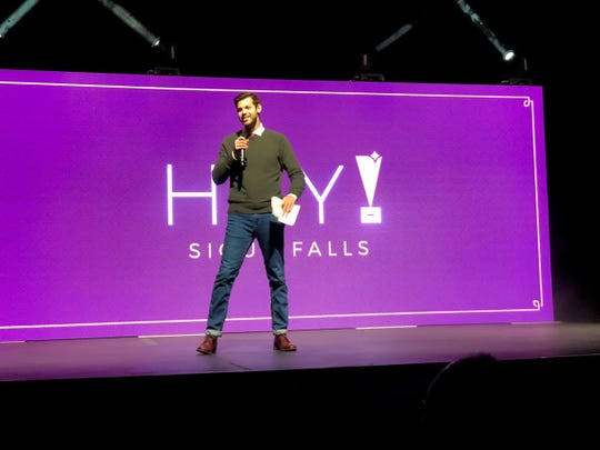 Nate Olson, founder of 1 Million Cups, speaks at the inaugural Hey! Sioux Falls entrepreneur award even on Sept. 13.