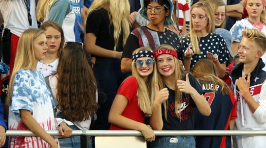 Sioux Falls Christian fans pose for the camera during Friday night's game against Sioux Valley at USF Stadium in Sioux Falls.