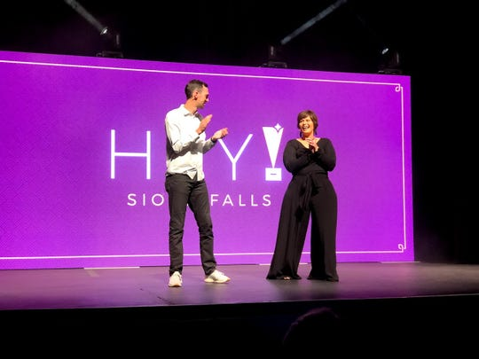 John Meyer of Lemonly and Adie Graham-Kramer of The Event Company, laugh as they host the Hey! Sioux Falls entrepreneur award event on Sept. 13 in Sioux Falls.