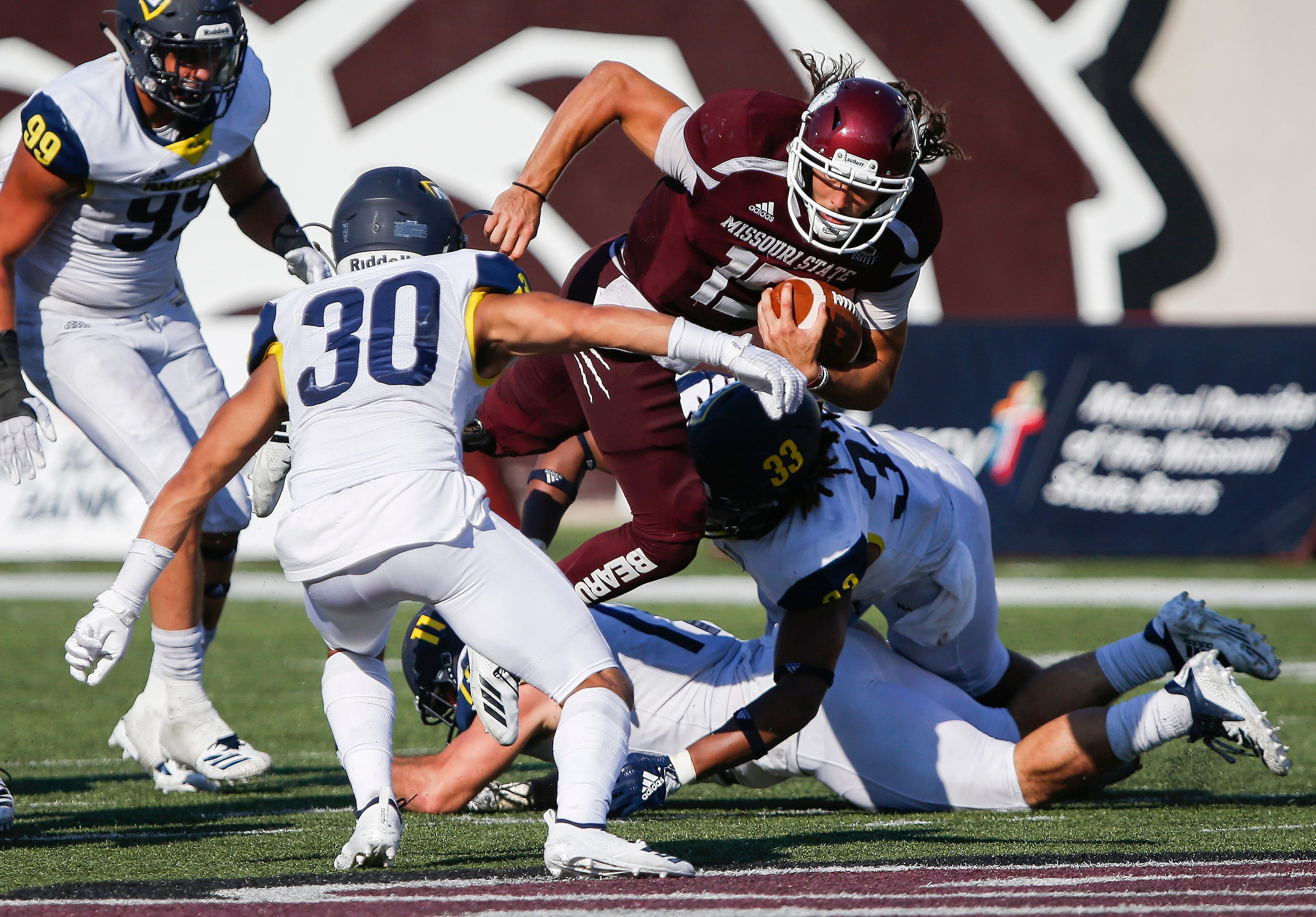 Peyton Huslig runs with the ball during Missouri State's game against Northern Arizona at Plaster Stadium on Saturday, Sept. 15, 2018.