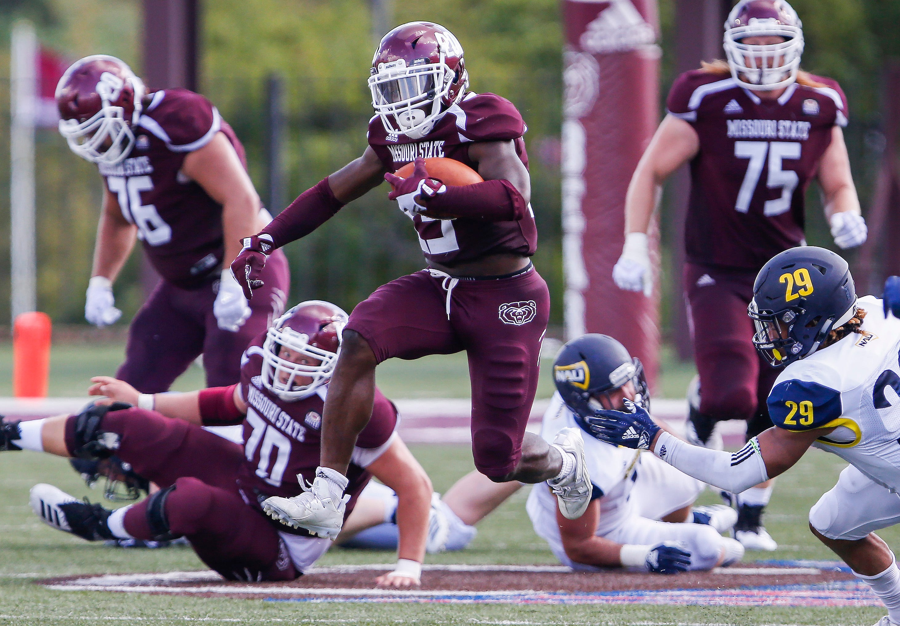 Jason Randall runs with the ball during Missouri State's game against Northern Arizona at Plaster Stadium on Saturday, Sept. 15, 2018.