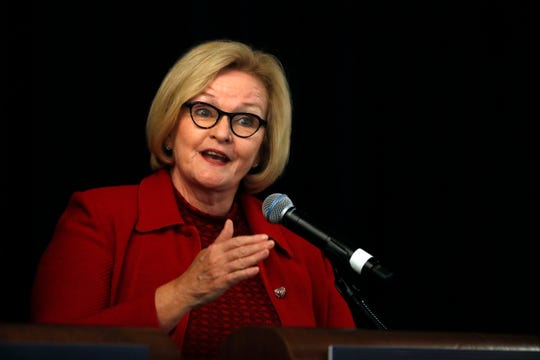 Incumbent Democratic Sen. Claire McCaskill of Missouri speaks during a candidate forum at the annual Missouri Press Association convention Friday, Sept. 14, 2018, in Maryland Heights, Mo.