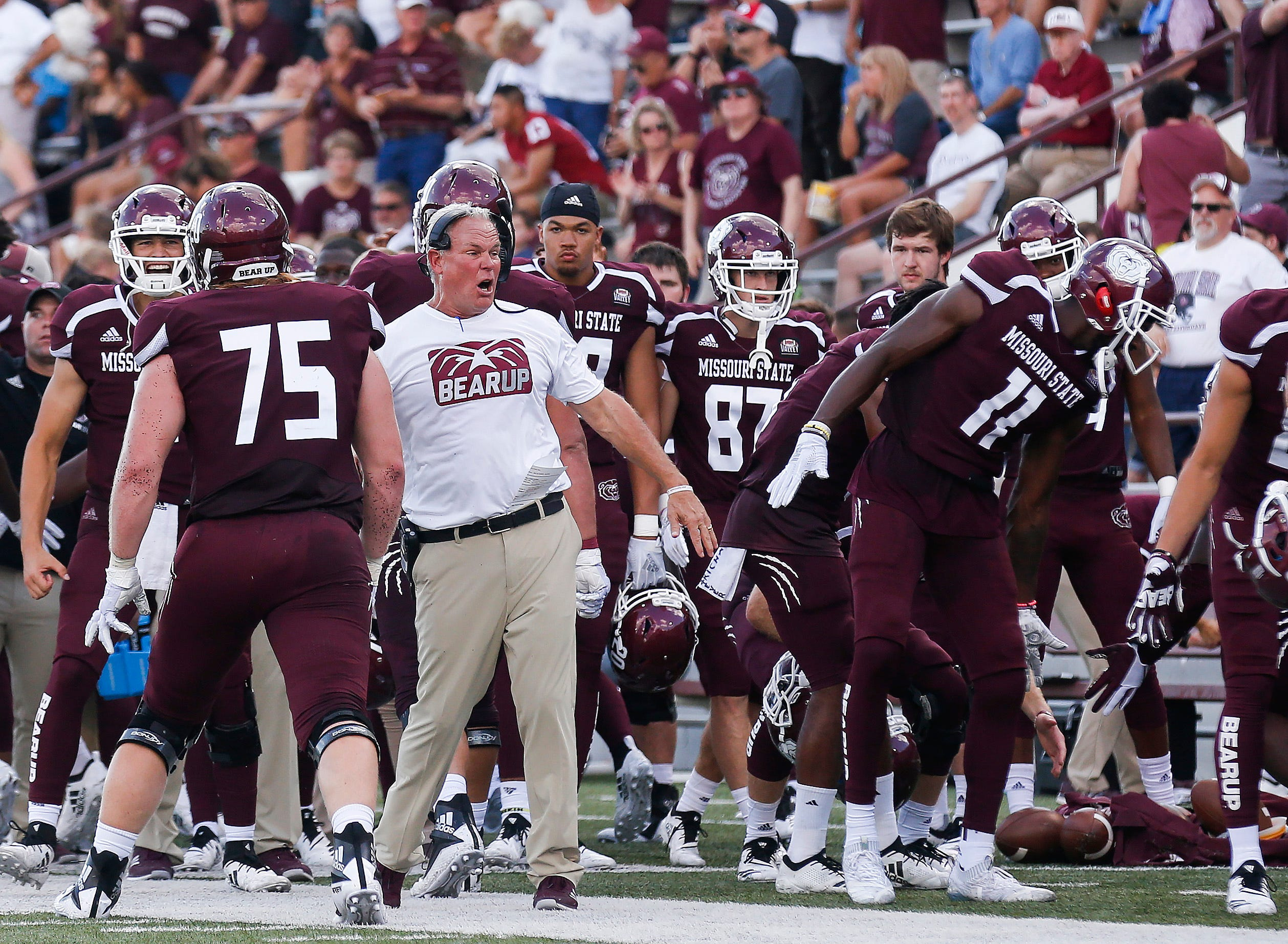 Head coach Dave Steckel celebrates a touchdown during Missouri State's game against Northern Arizona at Plaster Stadium on Saturday, Sept. 15, 2018.