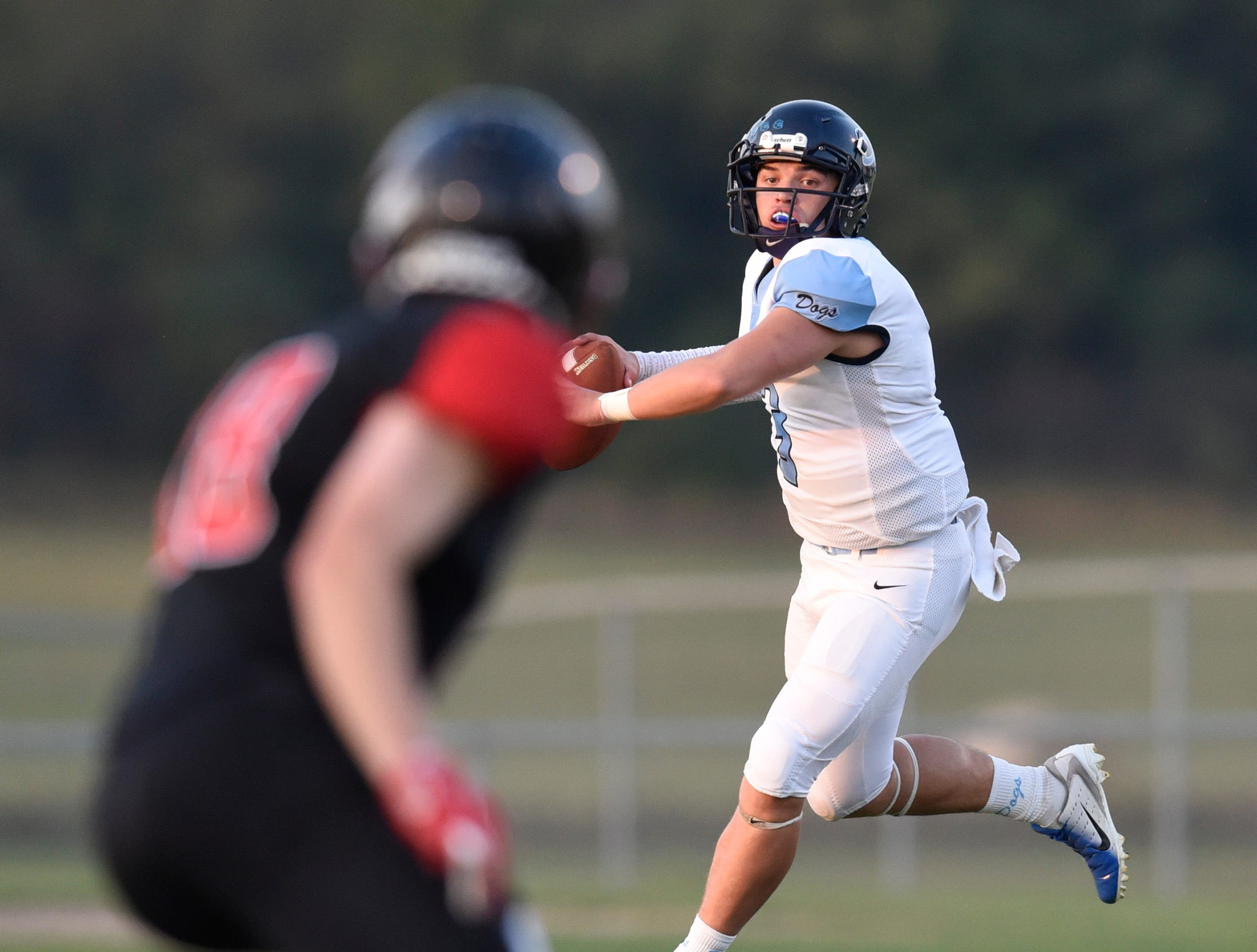 Becker quarterback Josh Fobbe makes a pass against ROCORI during the first half Friday, Sept. 14, in Cold Spring.