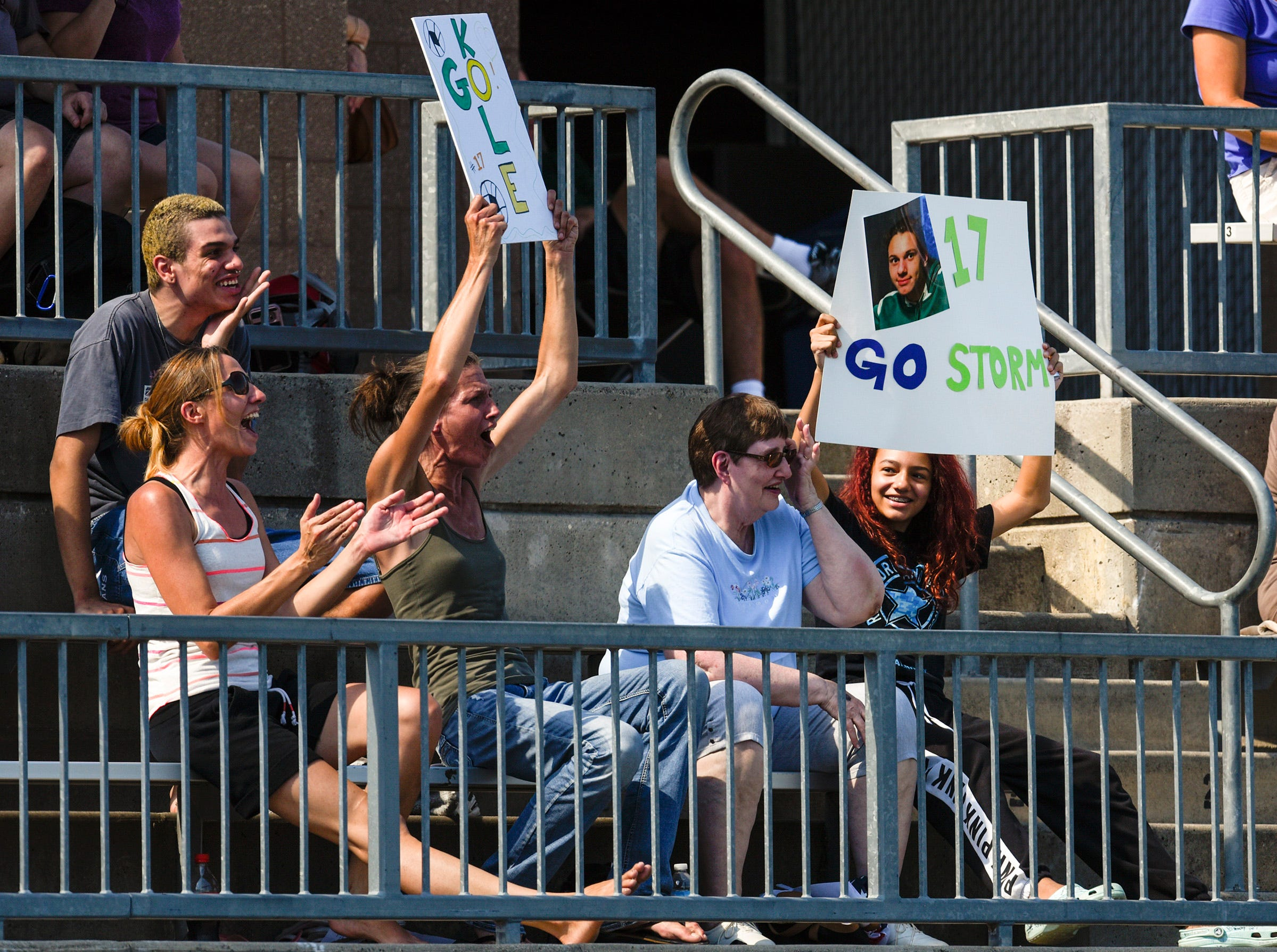 Sauk Rapids fans celebrate a goal against Tech during the first half Saturday, Sept. 15, at Husky Stadium.