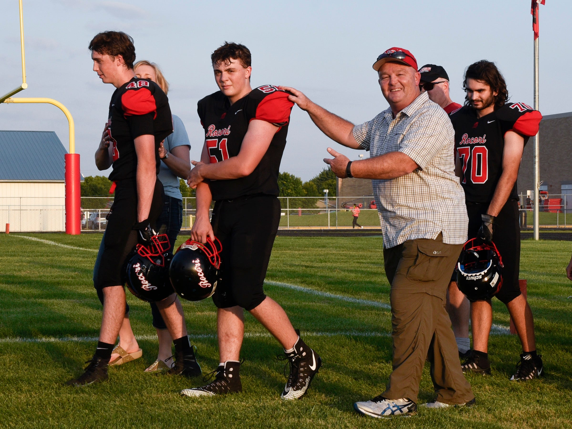 ROCORI's Nathaniel Venable and his dad Barry are introduced during parents night Friday, Sept. 14, in Cold Spring.