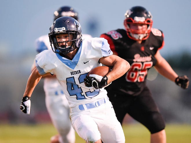Becker's Kevin Andres goes in to score against ROCORI during the first half Friday, Sept. 14, in Cold Spring.