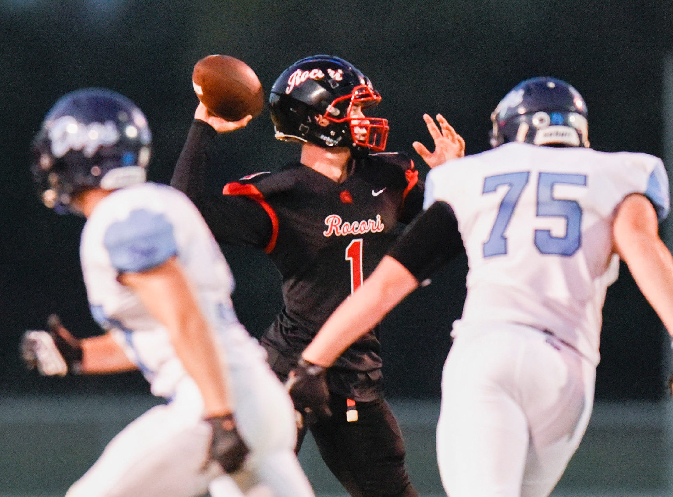 ROCORI quarterback Jack Steil sets up to throw against Becker during the first half Friday, Sept. 14, in Cold Spring.