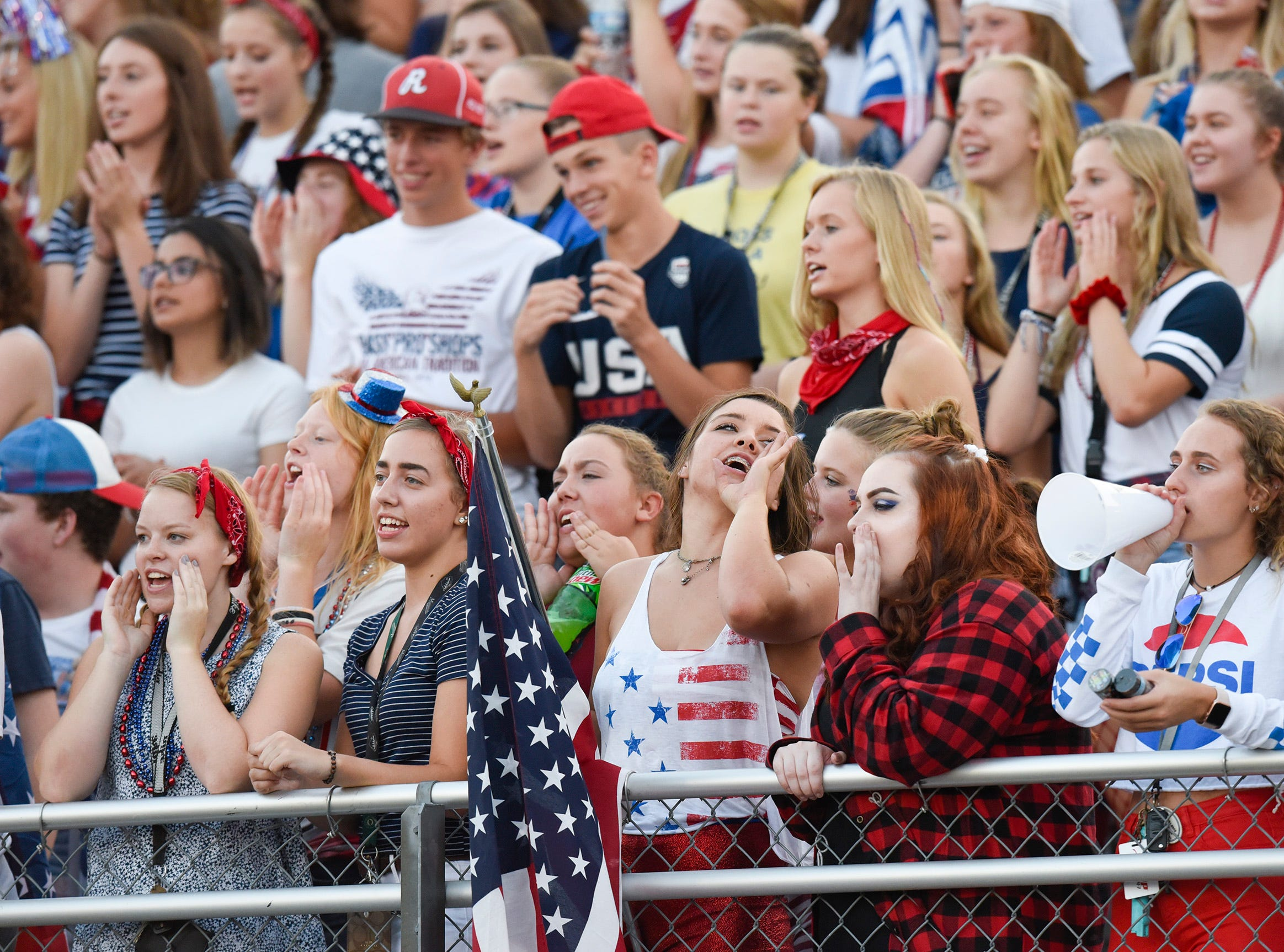 ROCORI fans cheer during the first half Friday, Sept. 14, in Cold Spring.